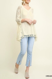 Umgee USA Fringed Lace-Inset Tee - Front full body