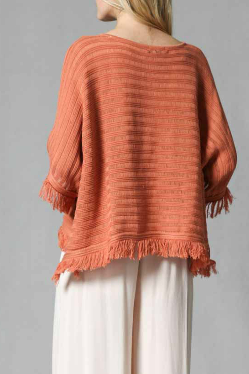 FATE by LFD Fringed pull over poncho - Side Cropped Image