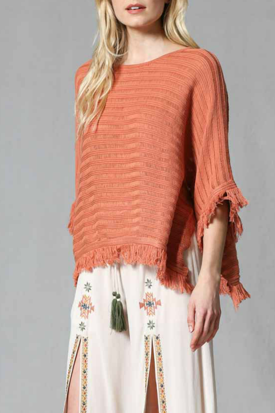 FATE by LFD Fringed pull over poncho - Front Full Image