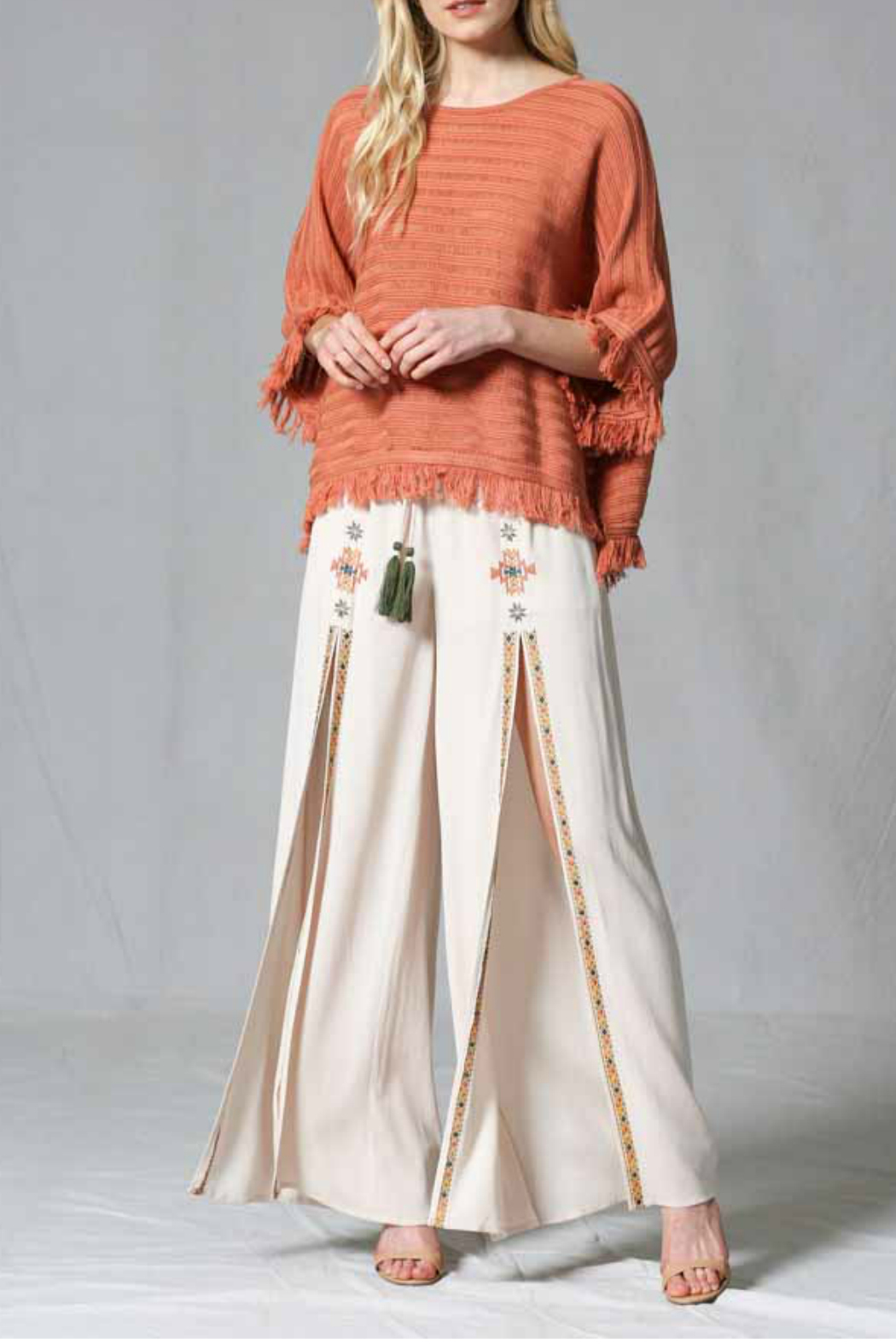 FATE by LFD Fringed pull over poncho - Main Image
