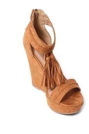 Wild Diva Fringed Suede Wedge - Front full body