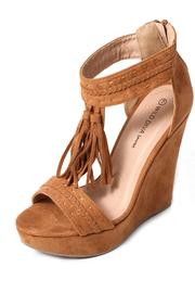 Wild Diva Fringed Suede Wedge - Front cropped
