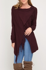 LuLu's Boutique Fringed Wrap Cardigan - Product Mini Image