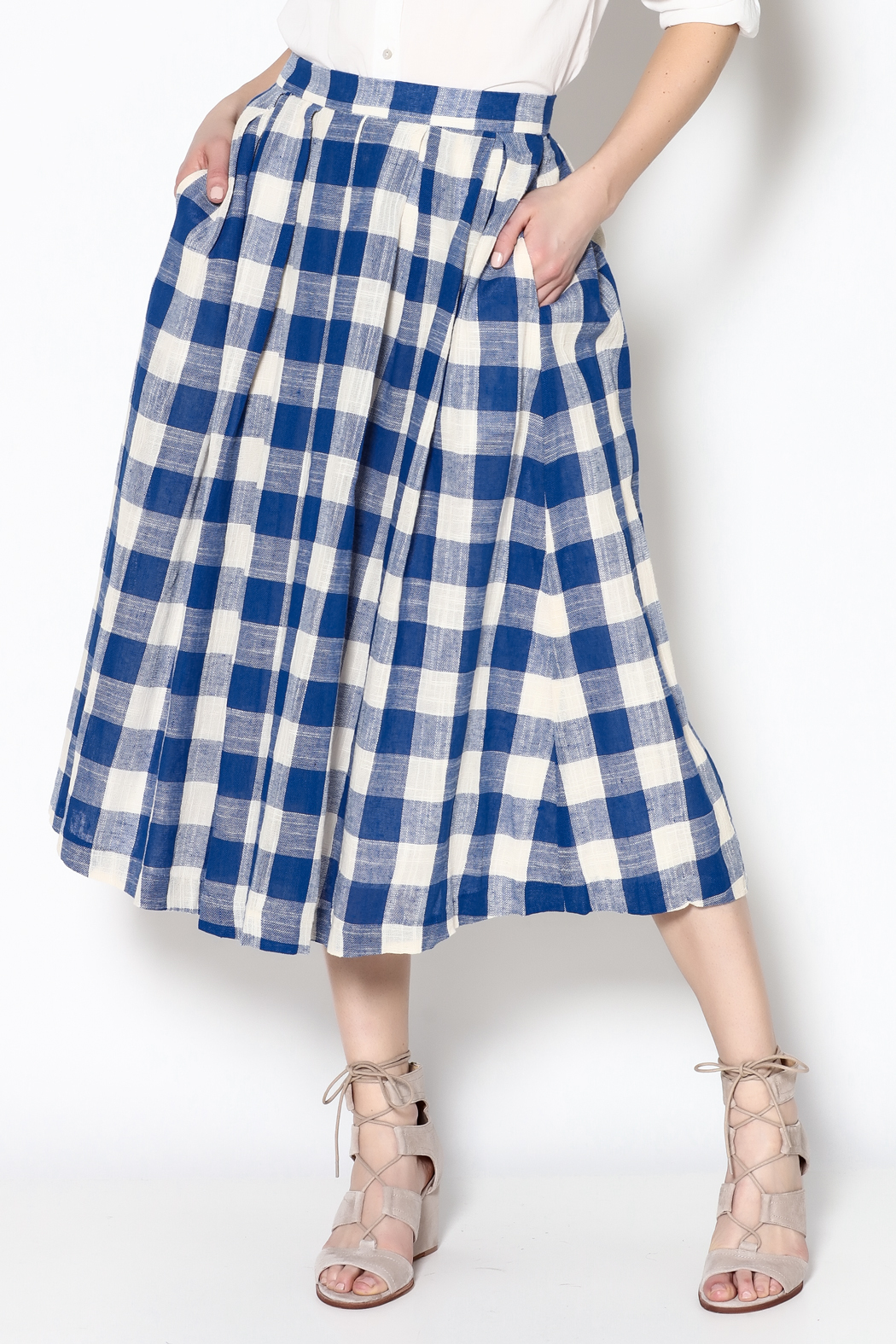 frnch blue gingham skirt from florida by momni shoptiques