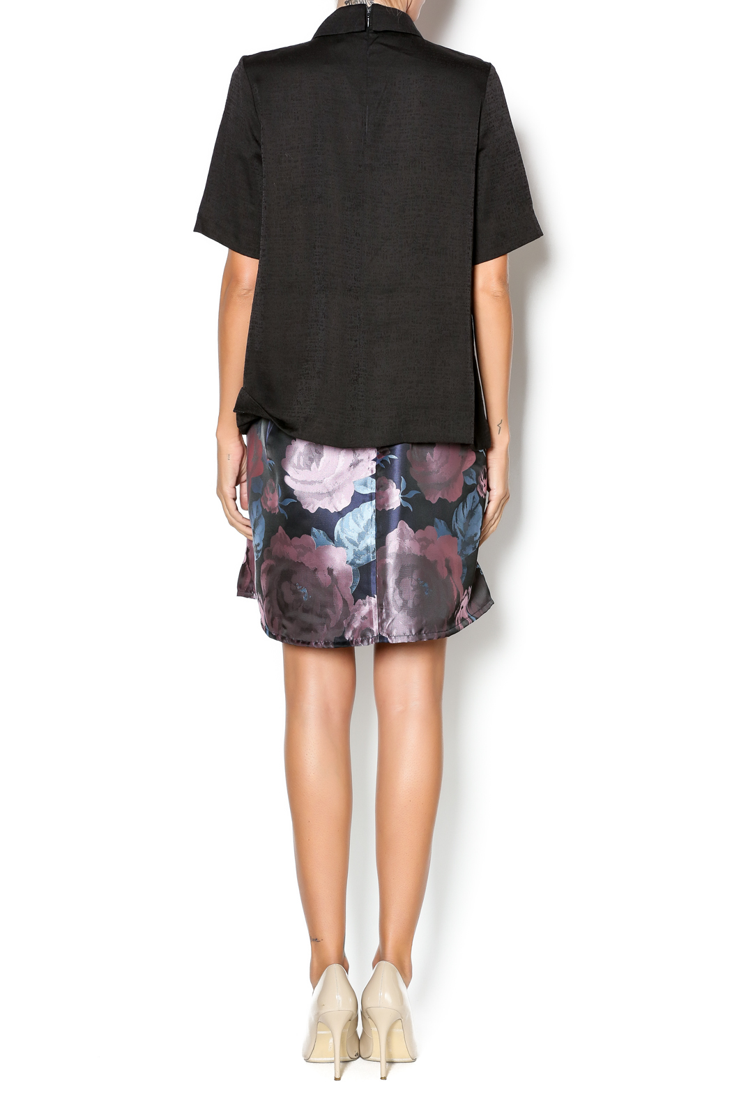 FRNCH Black Collared Top - Side Cropped Image