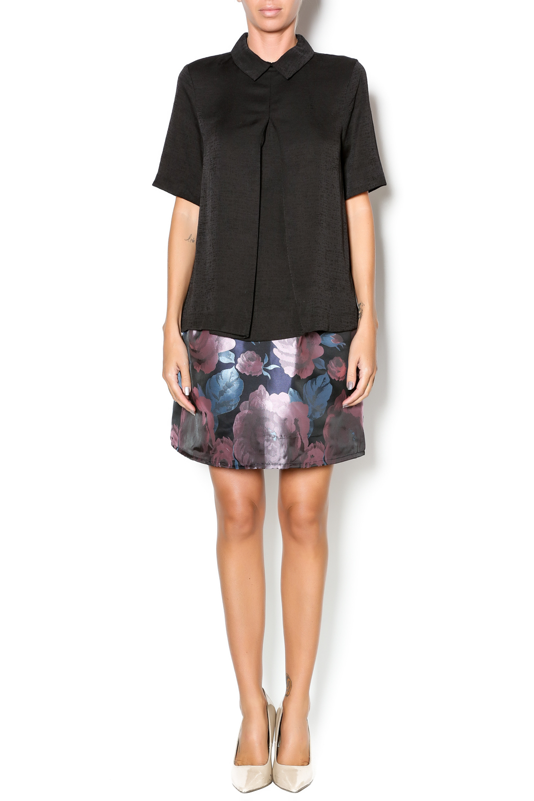FRNCH Black Collared Top - Front Full Image