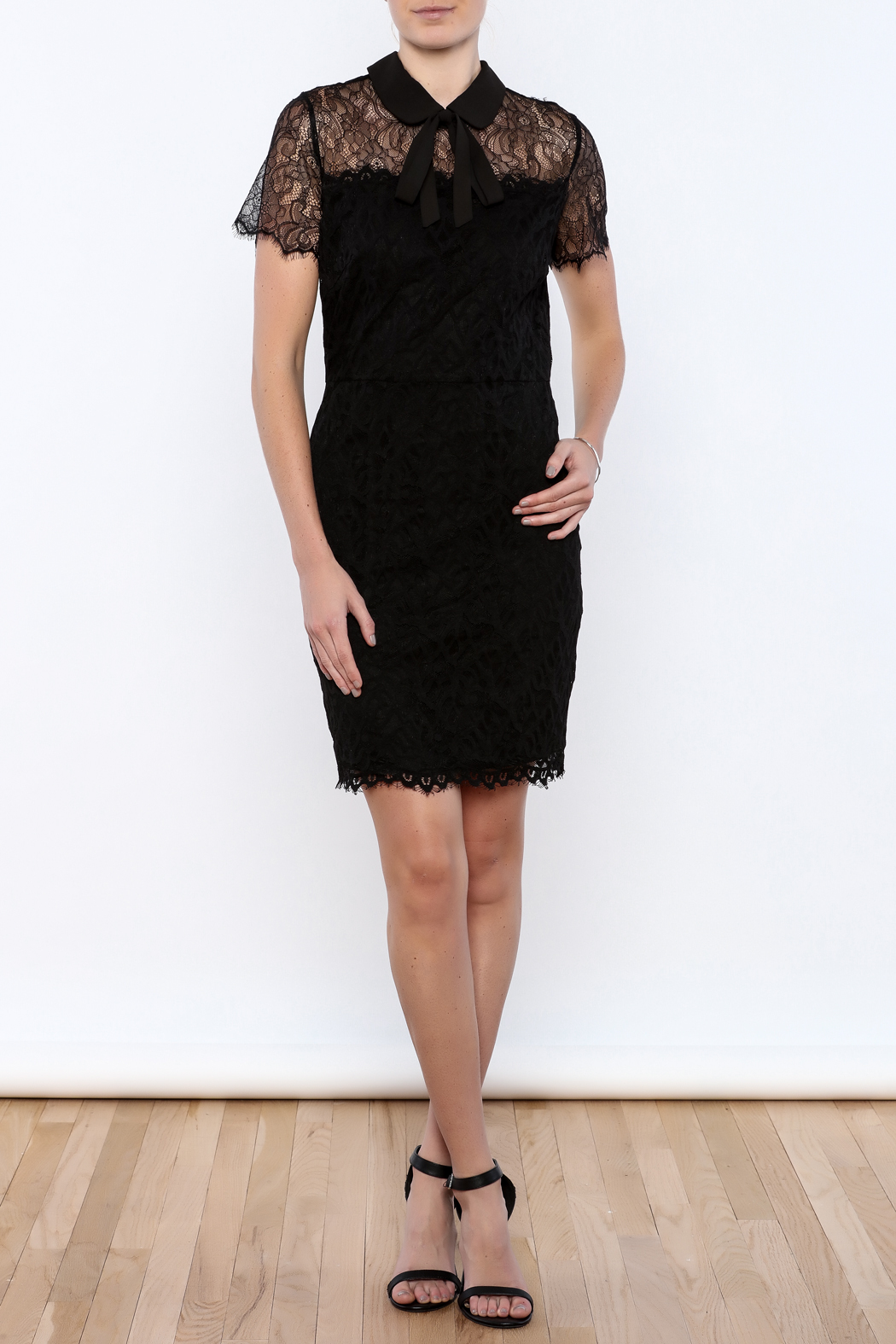 FRNCH Black Lace Dress - Front Full Image