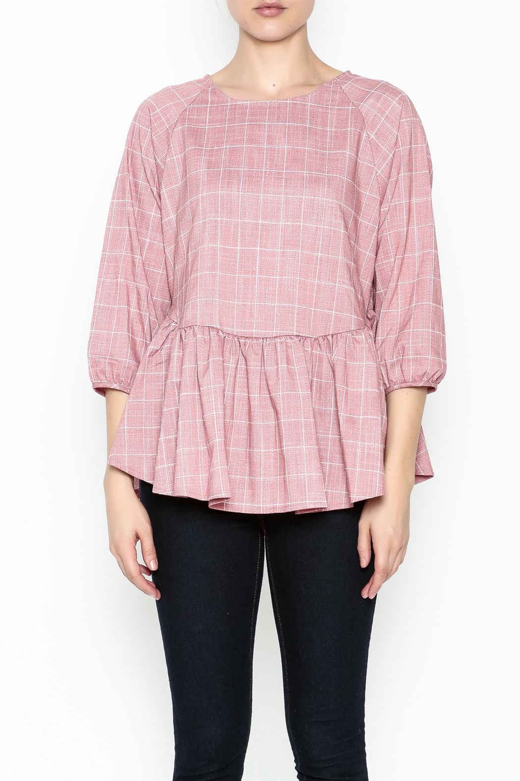 FRNCH Check Peplum Blouse - Front Full Image