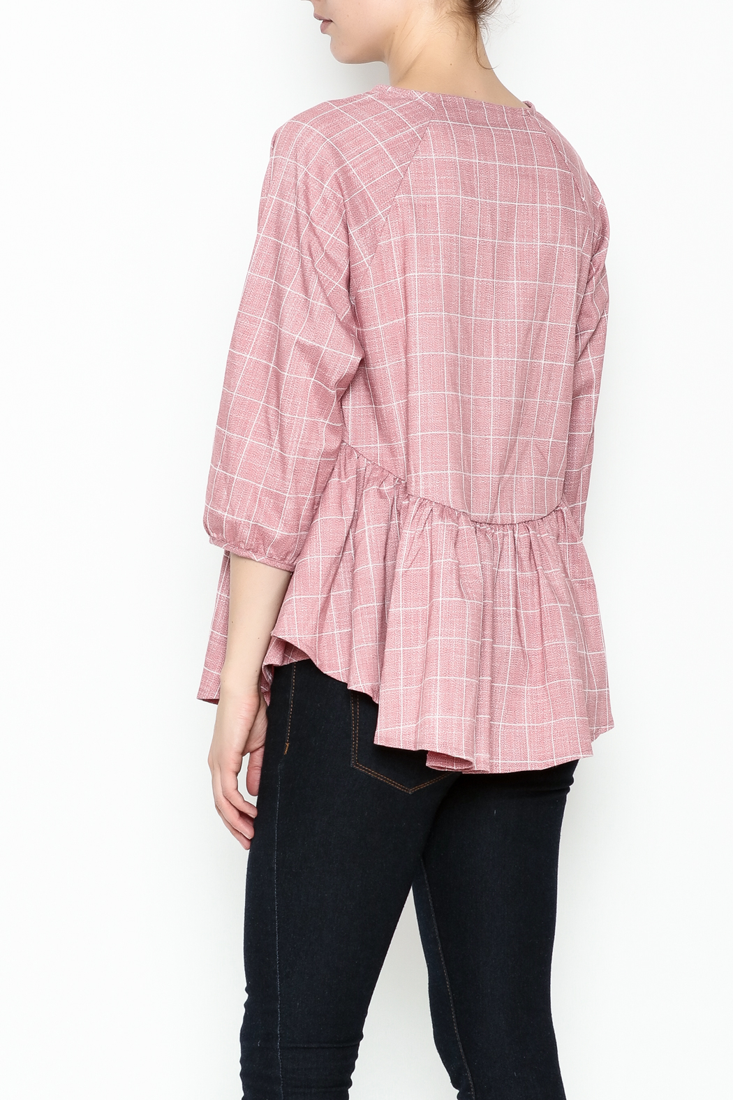 FRNCH Check Peplum Blouse - Back Cropped Image