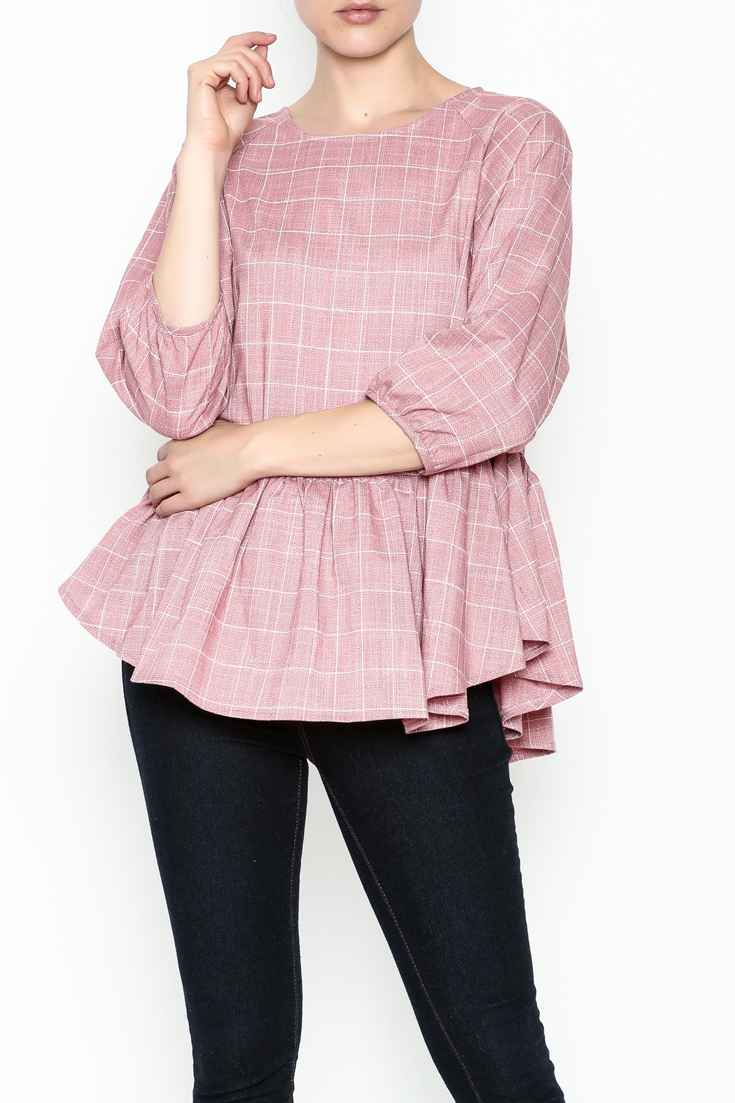 FRNCH Check Peplum Blouse - Main Image