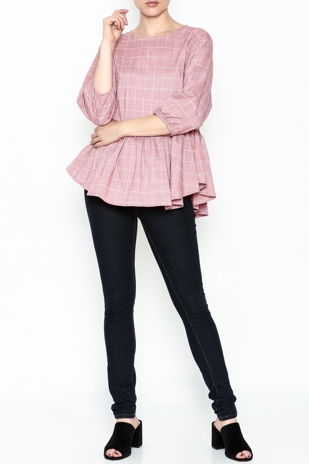 FRNCH Check Peplum Blouse - Side Cropped Image