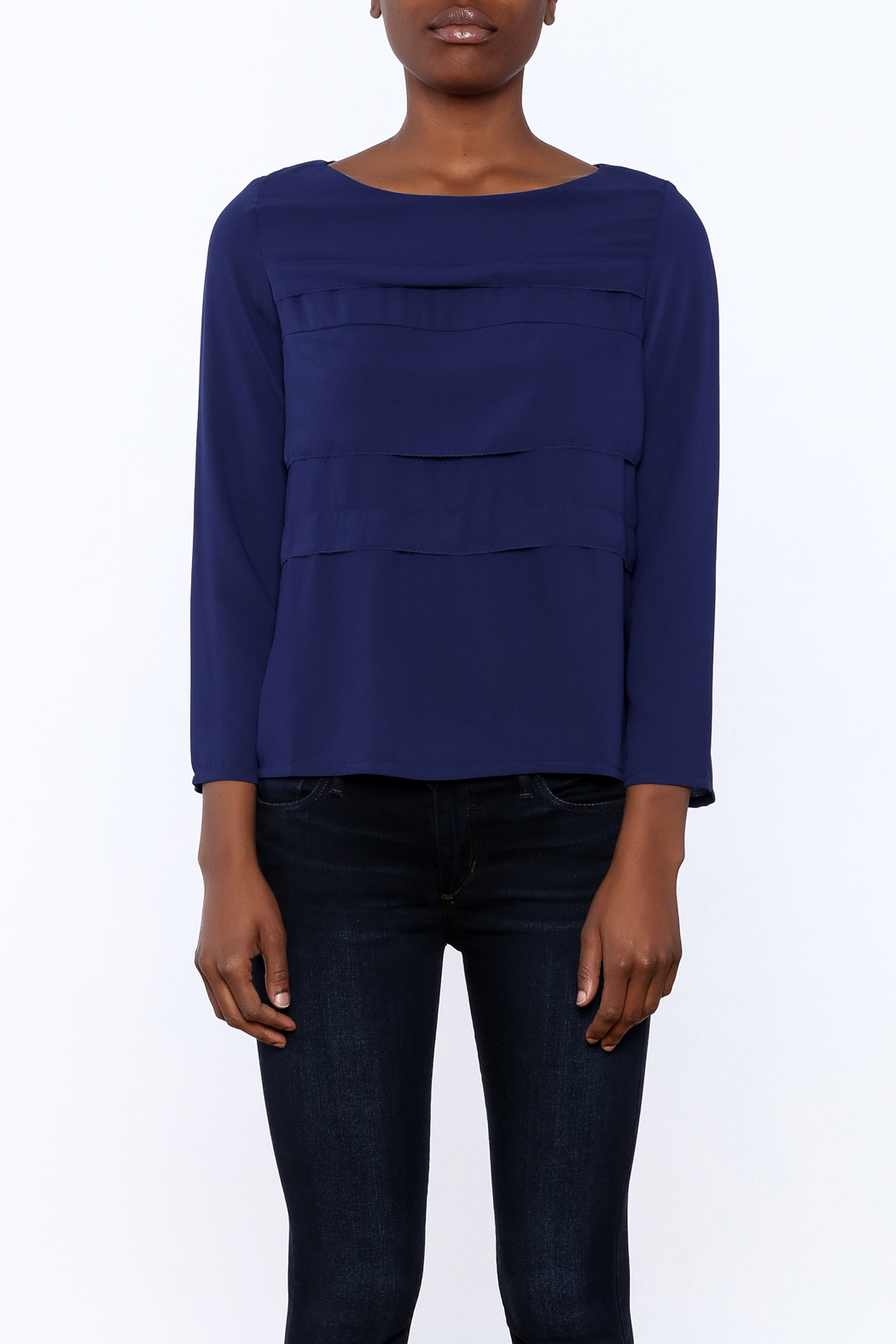 FRNCH Cobalt Tiered Top - Side Cropped Image