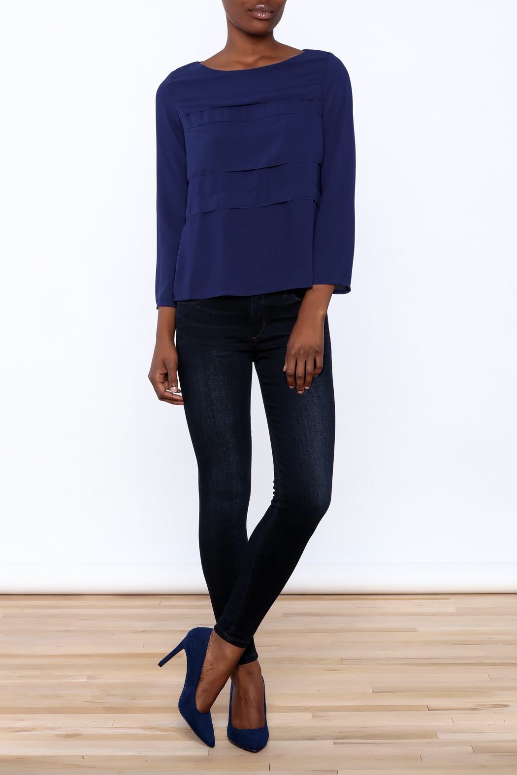 FRNCH Cobalt Tiered Top - Front Full Image