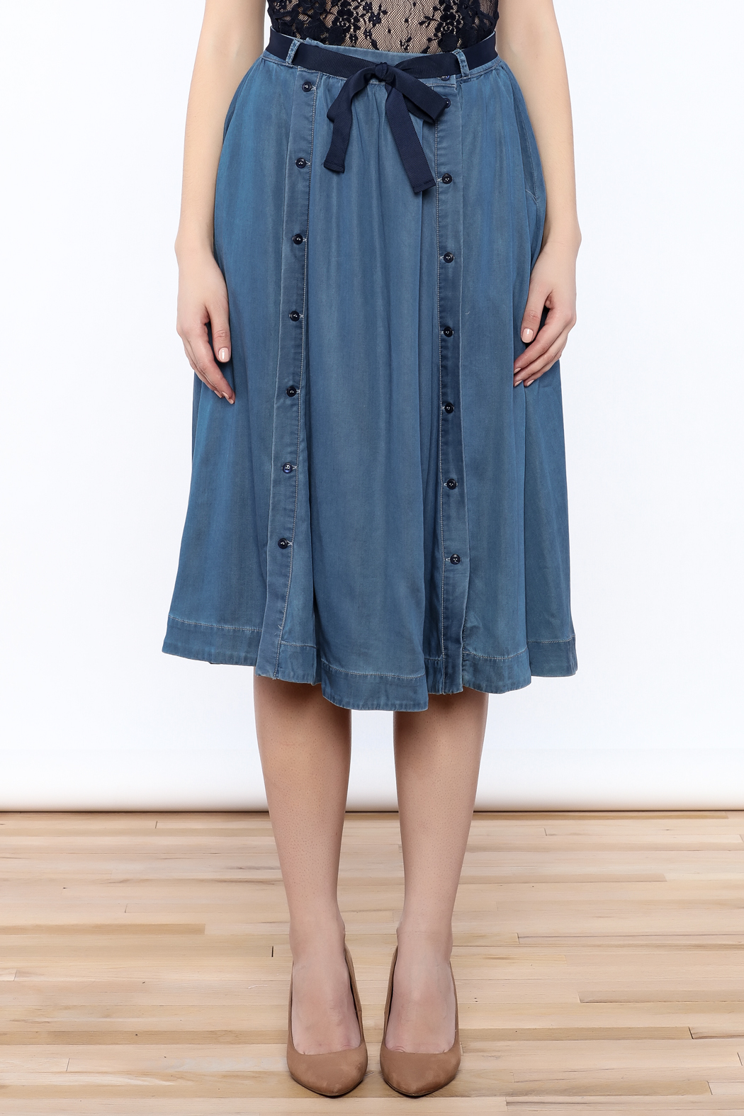 FRNCH Denim Flare Skirt from New York City by Jupe — Shoptiques