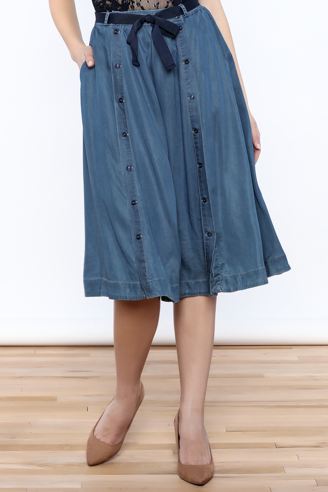 frnch denim flare skirt from new york city by jupe
