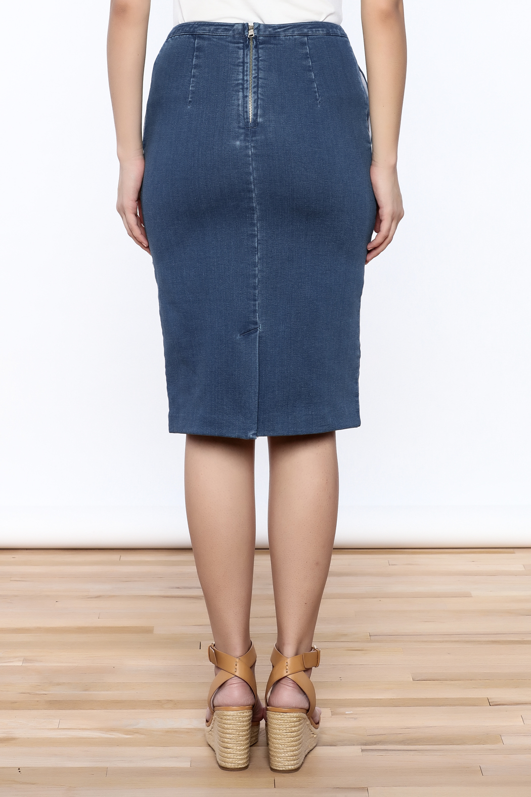 frnch denim pencil skirt from new york city by jupe