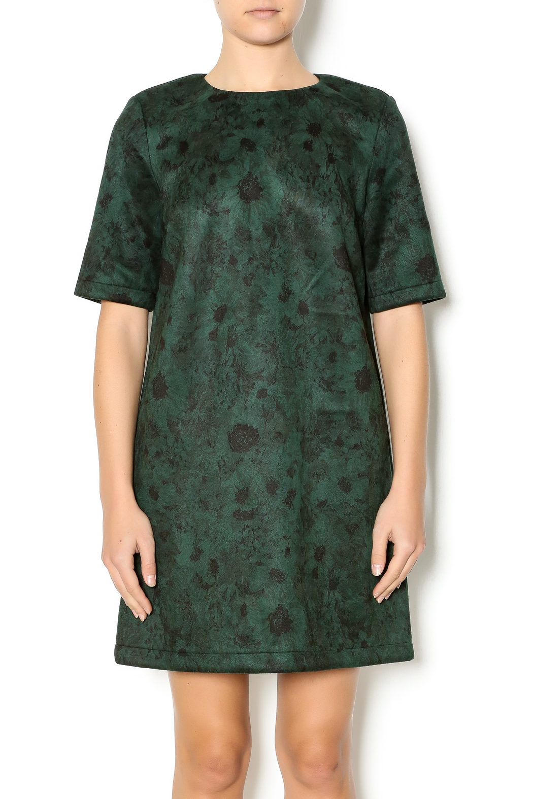 FRNCH Floral Suede Dress - Front Cropped Image