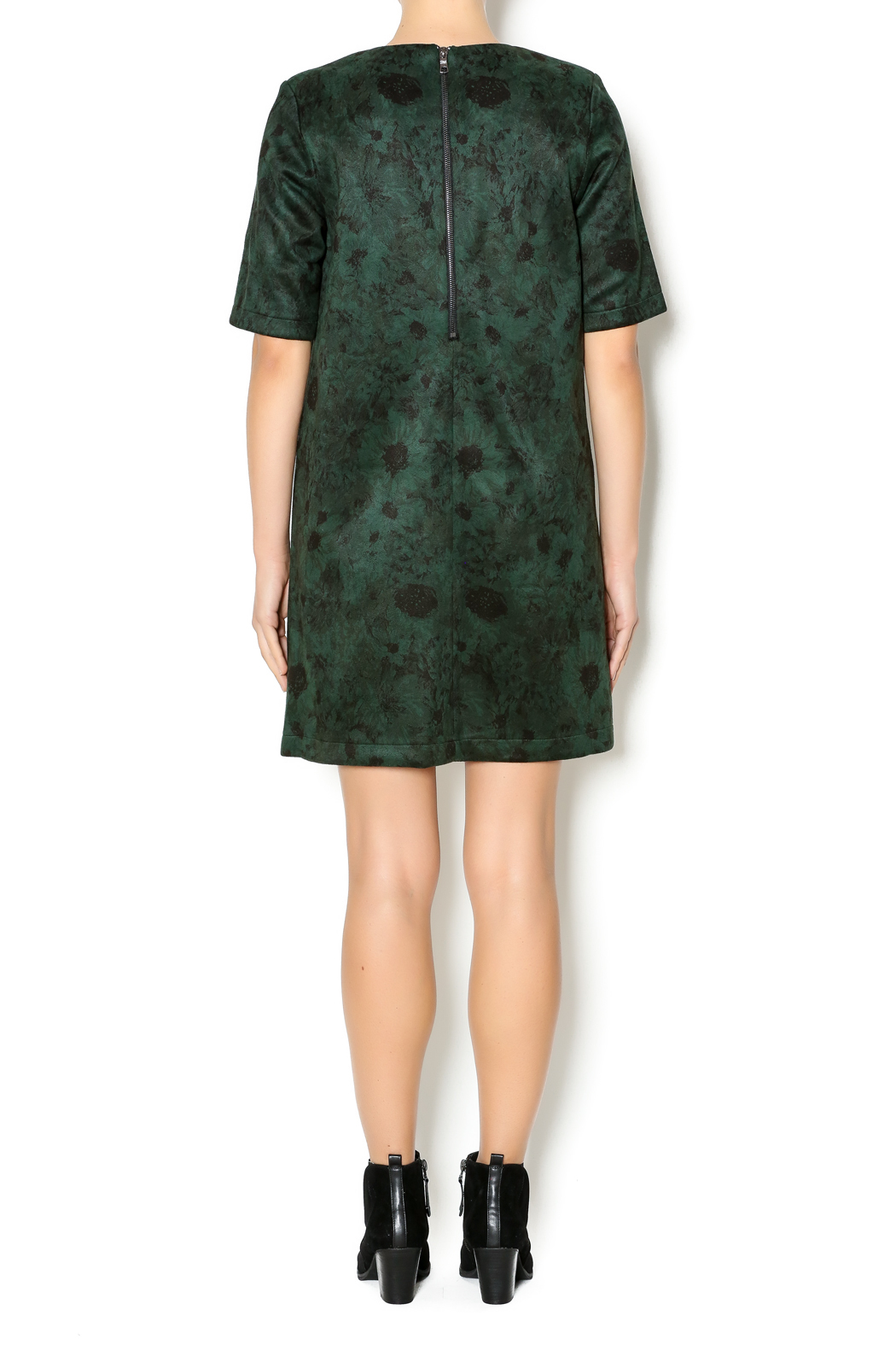 FRNCH Floral Suede Dress - Side Cropped Image