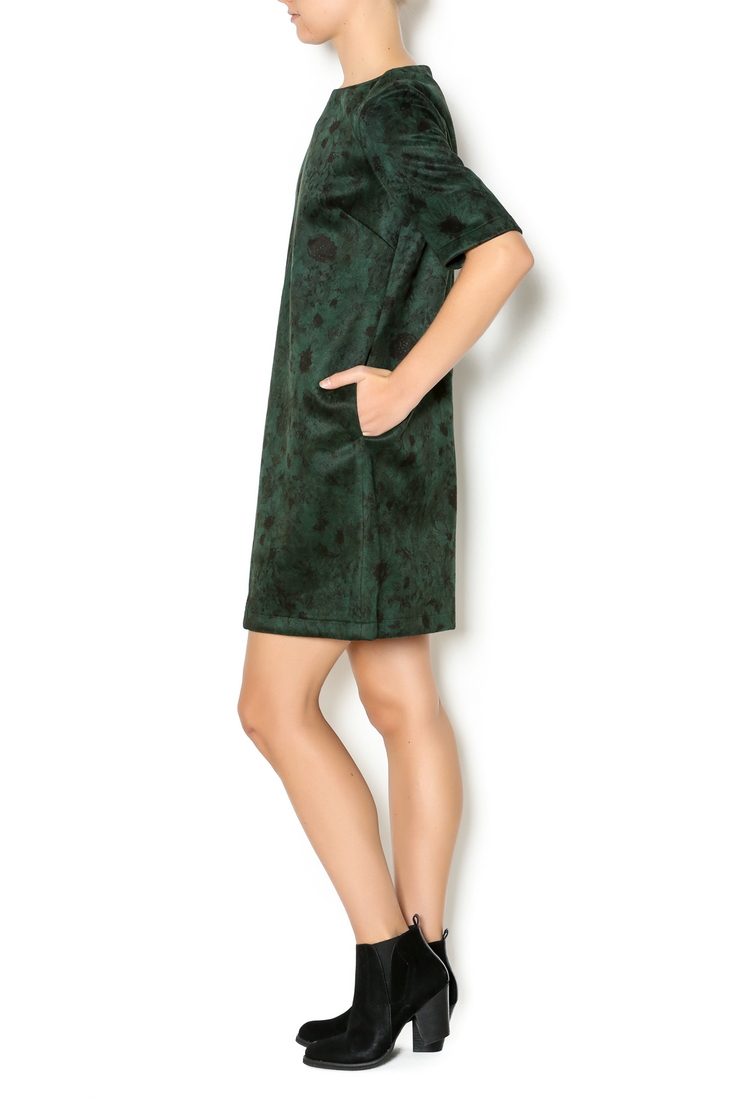 FRNCH Floral Suede Dress - Front Full Image