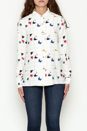 FRNCH Graphic Button Down Shirt - Front full body
