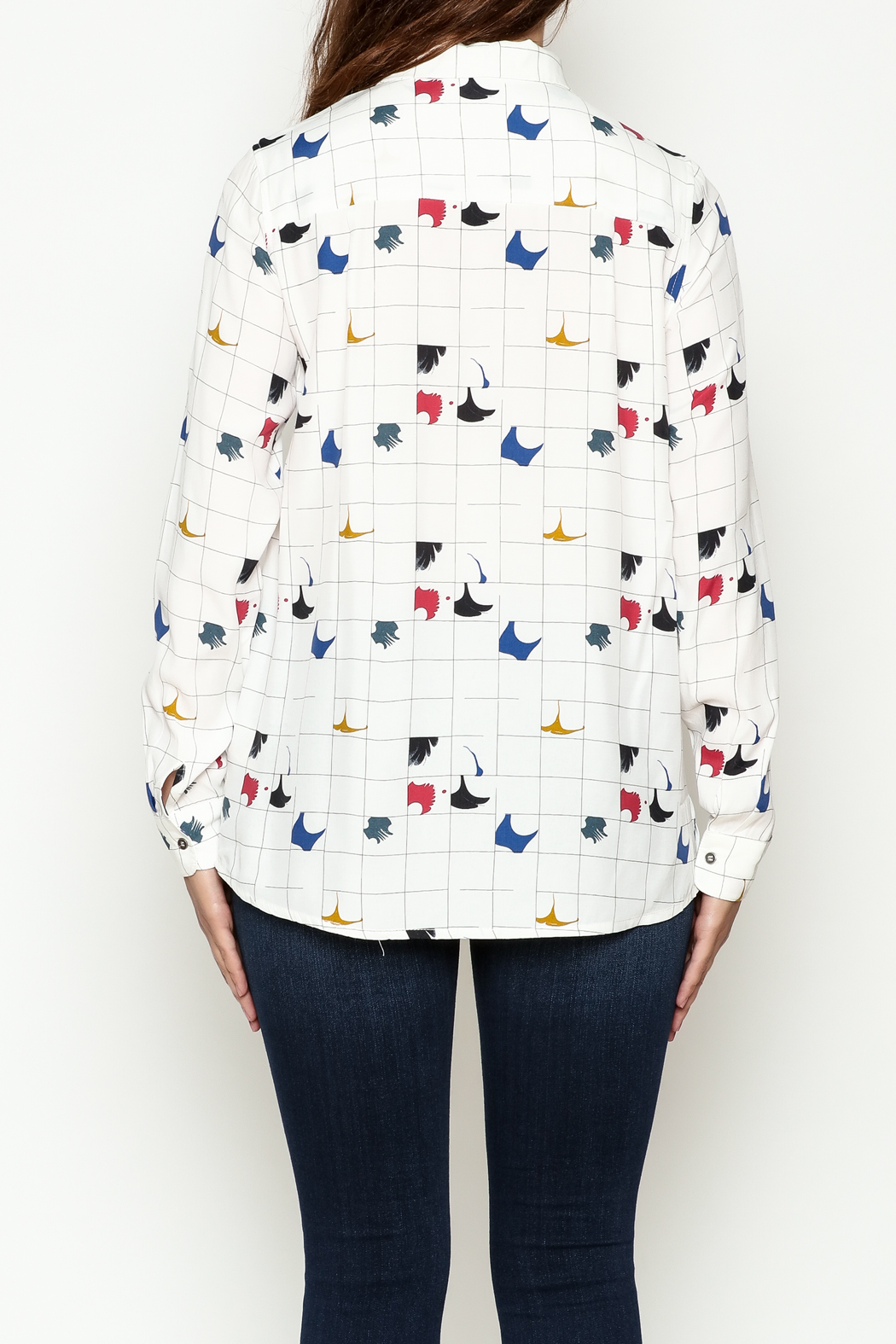 FRNCH Graphic Button Down Shirt - Back Cropped Image