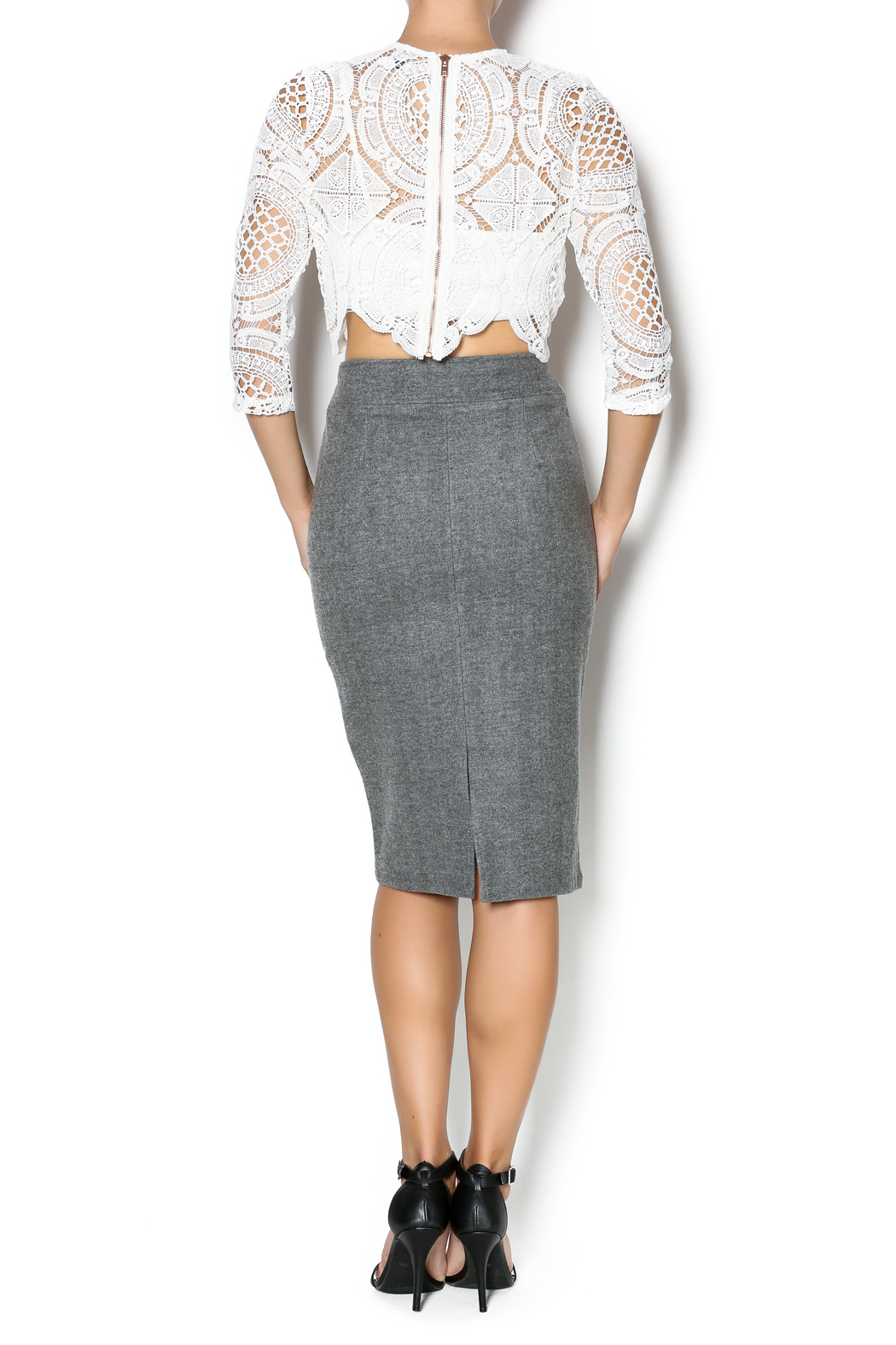 FRNCH Grey Pencil Skirt from Pennsylvania by Flirt Women's ...