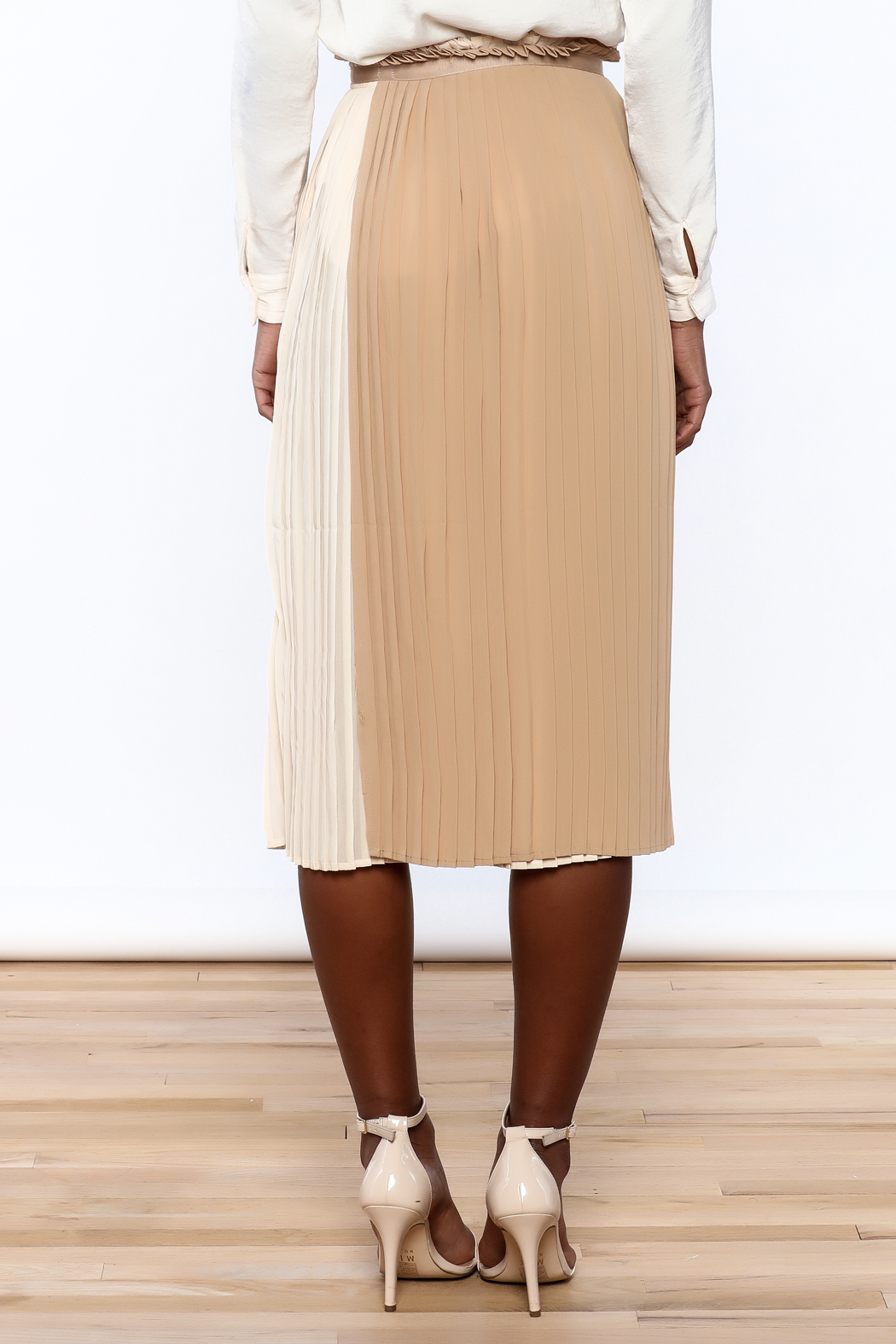 FRNCH Neutral Wrap Skirt - Back Cropped Image