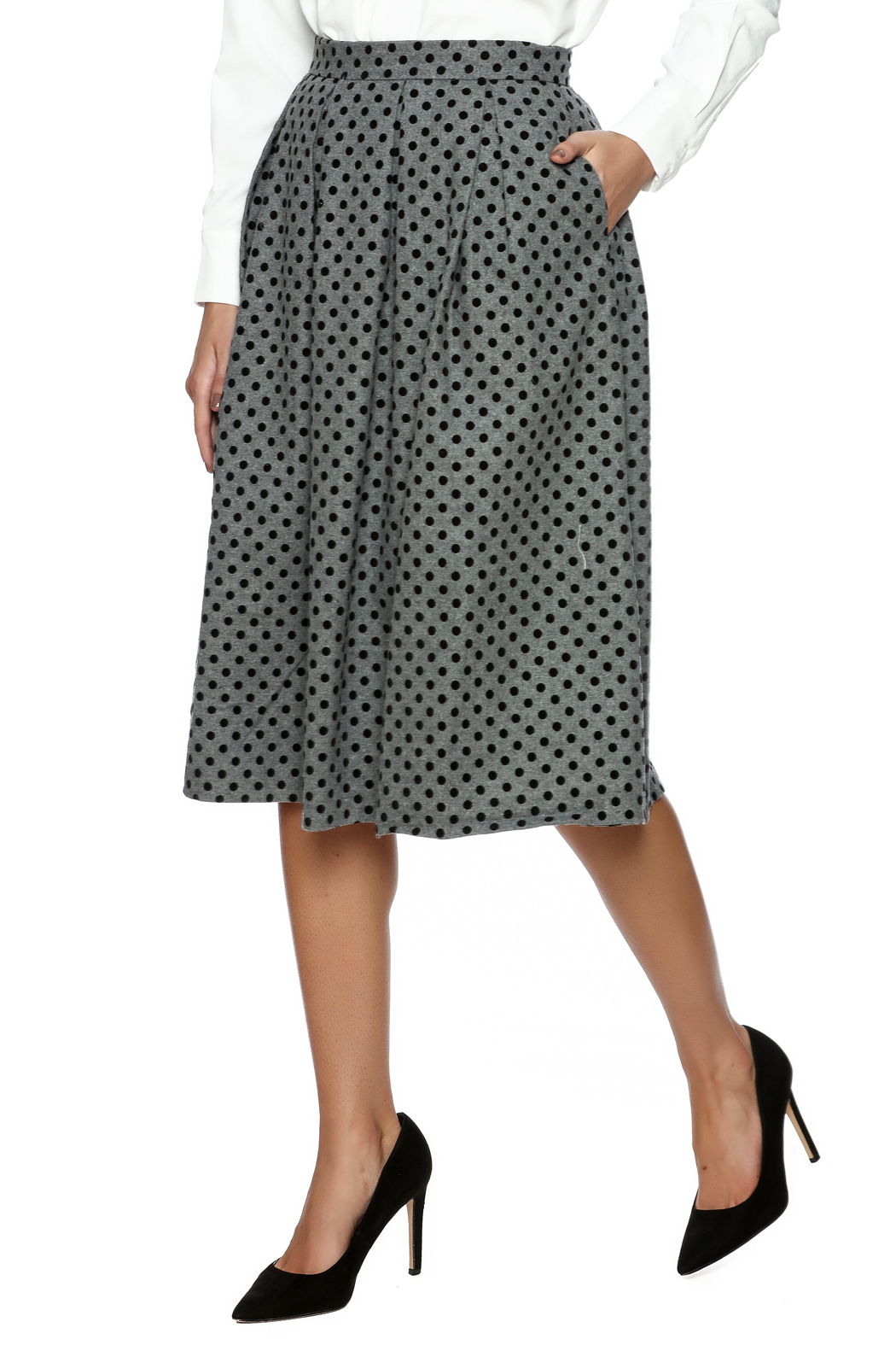 FRNCH Polka Dot Pleat Skirt - Front Cropped Image