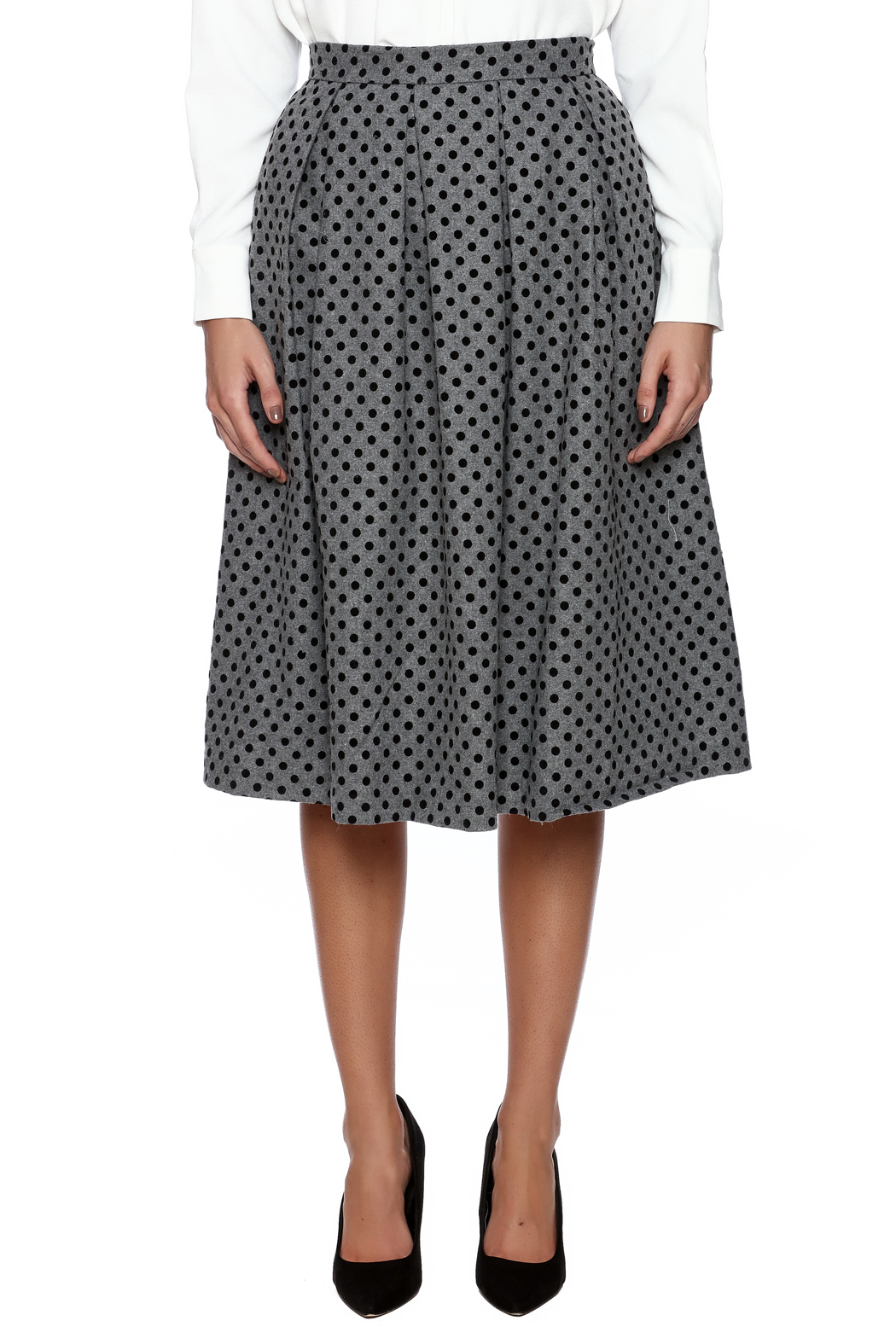 FRNCH Polka Dot Pleat Skirt - Side Cropped Image