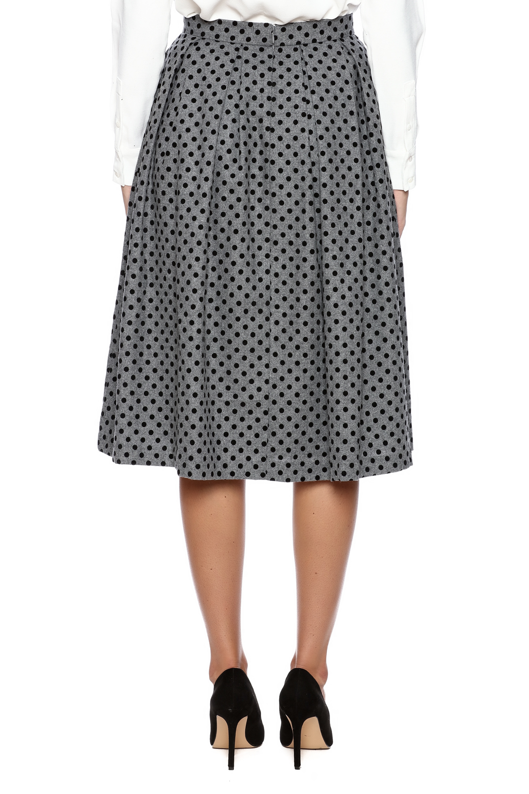 FRNCH Polka Dot Pleat Skirt - Back Cropped Image