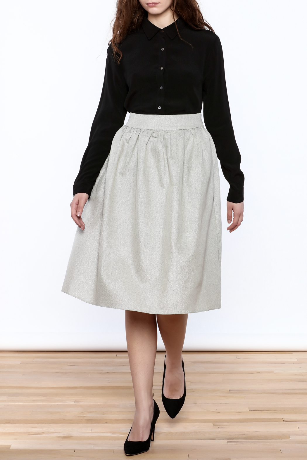 FRNCH Silver Midi Skirt - Front Full Image