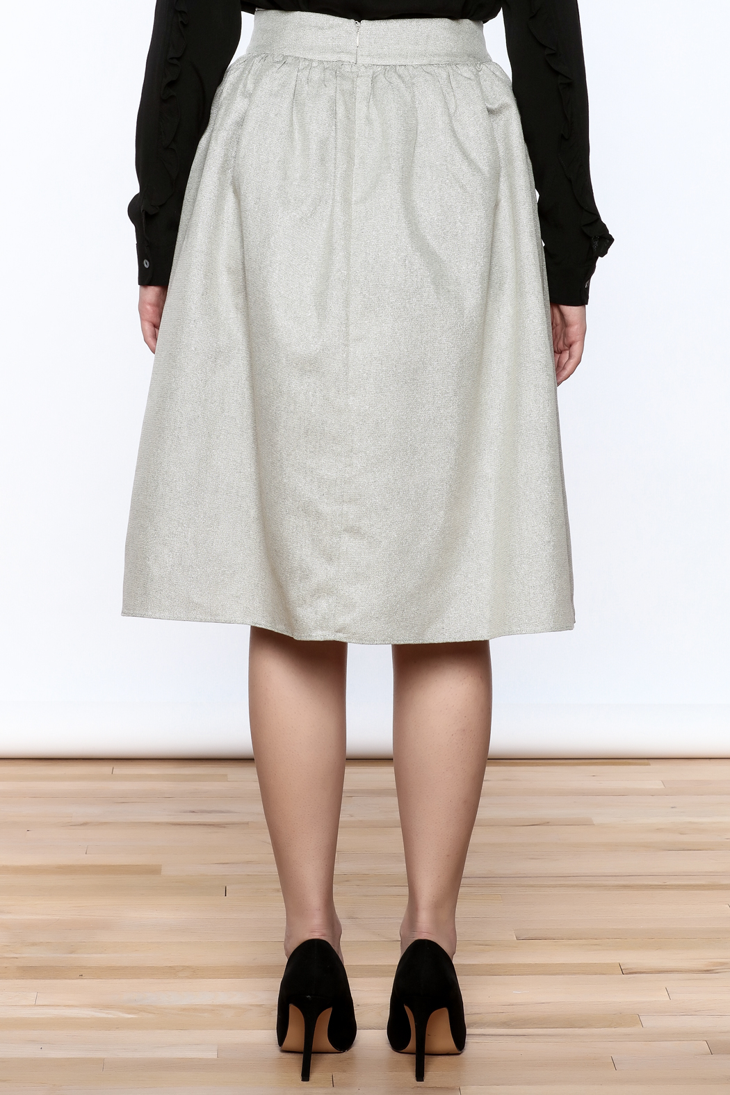 FRNCH Silver Midi Skirt - Back Cropped Image