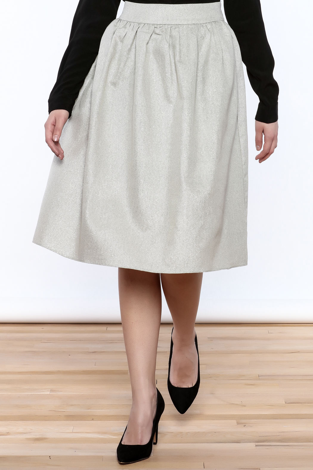 FRNCH Silver Midi Skirt - Front Cropped Image