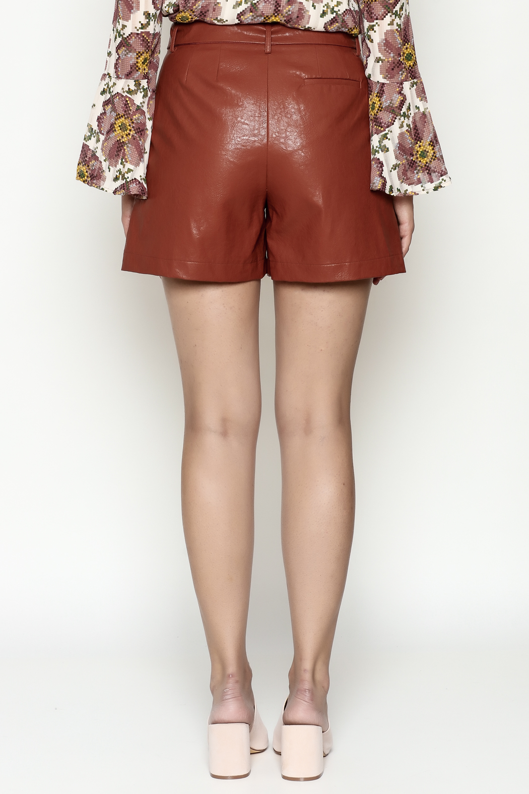 FRNCH Vegan Leather Shorts - Back Cropped Image
