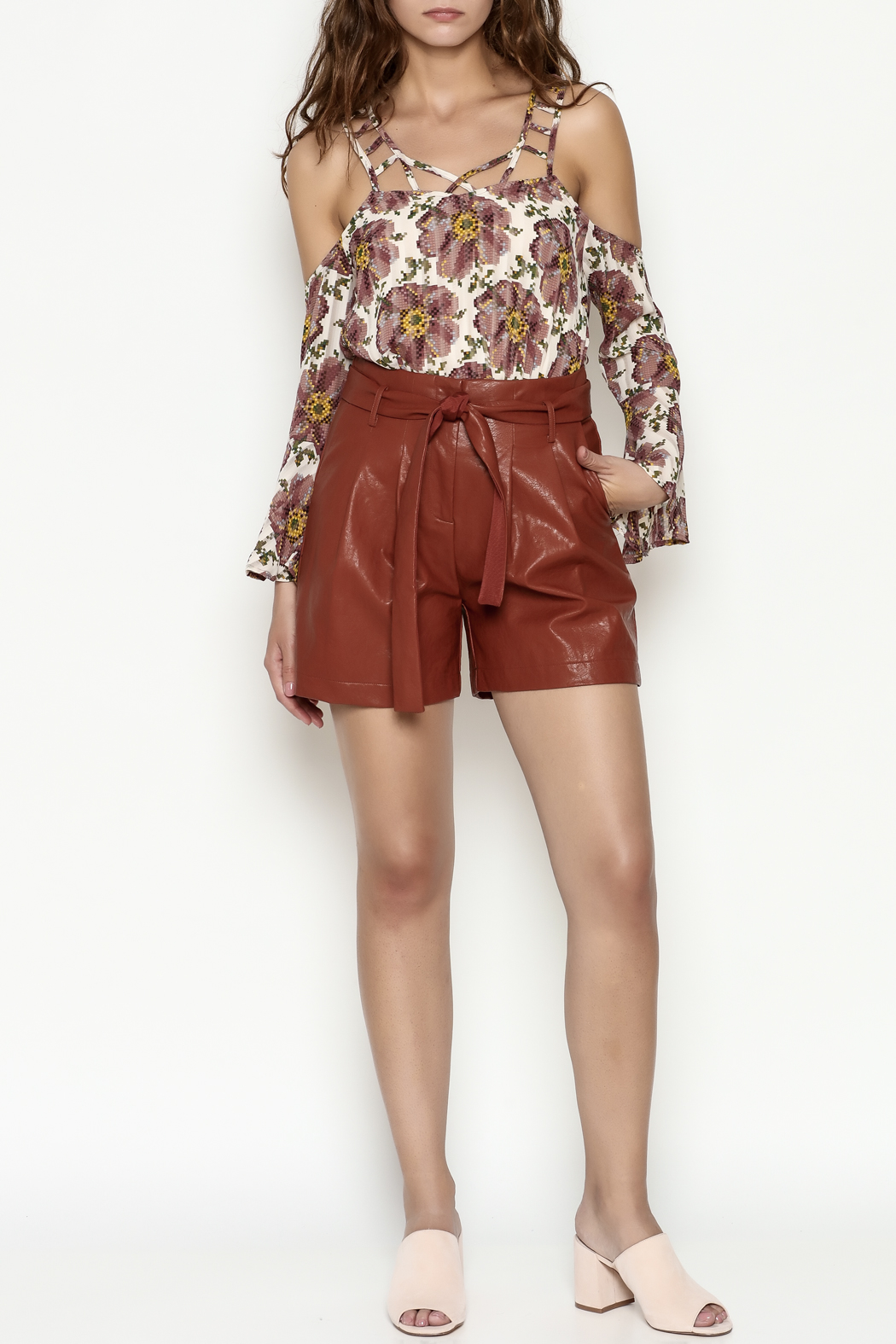 FRNCH Vegan Leather Shorts - Side Cropped Image