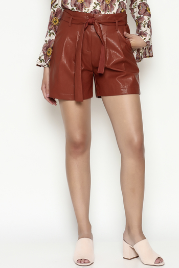 FRNCH Vegan Leather Shorts - Main Image