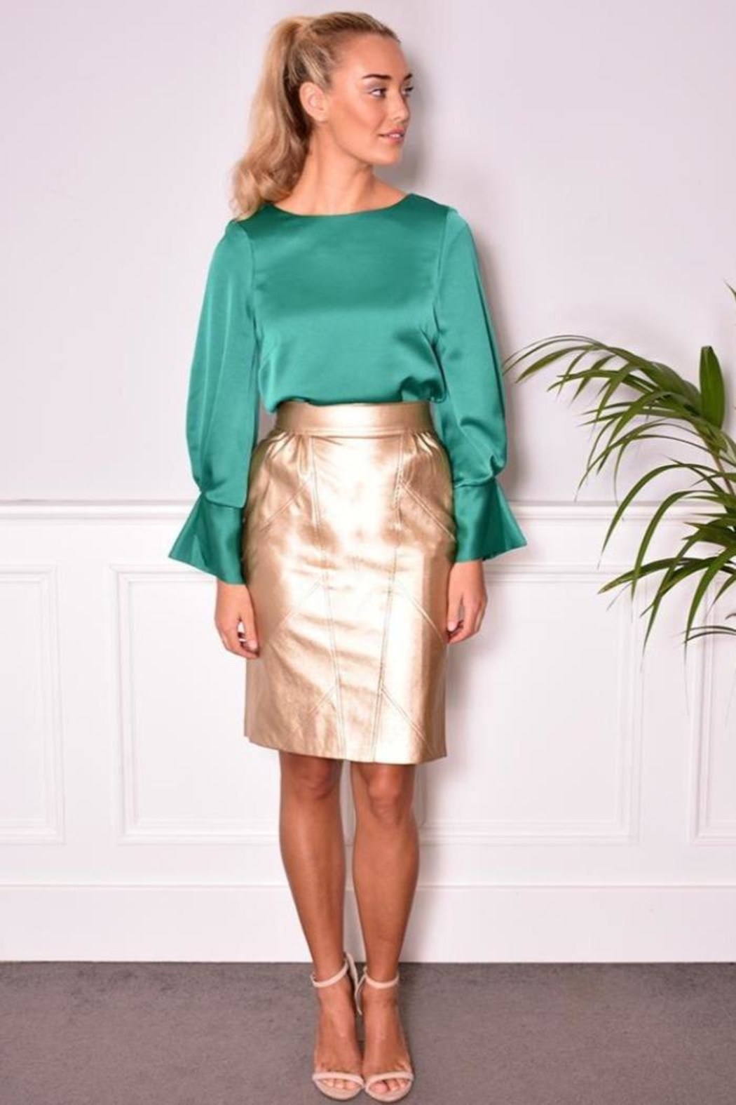 FRNCH Vegan Leather Skirt - Side Cropped Image