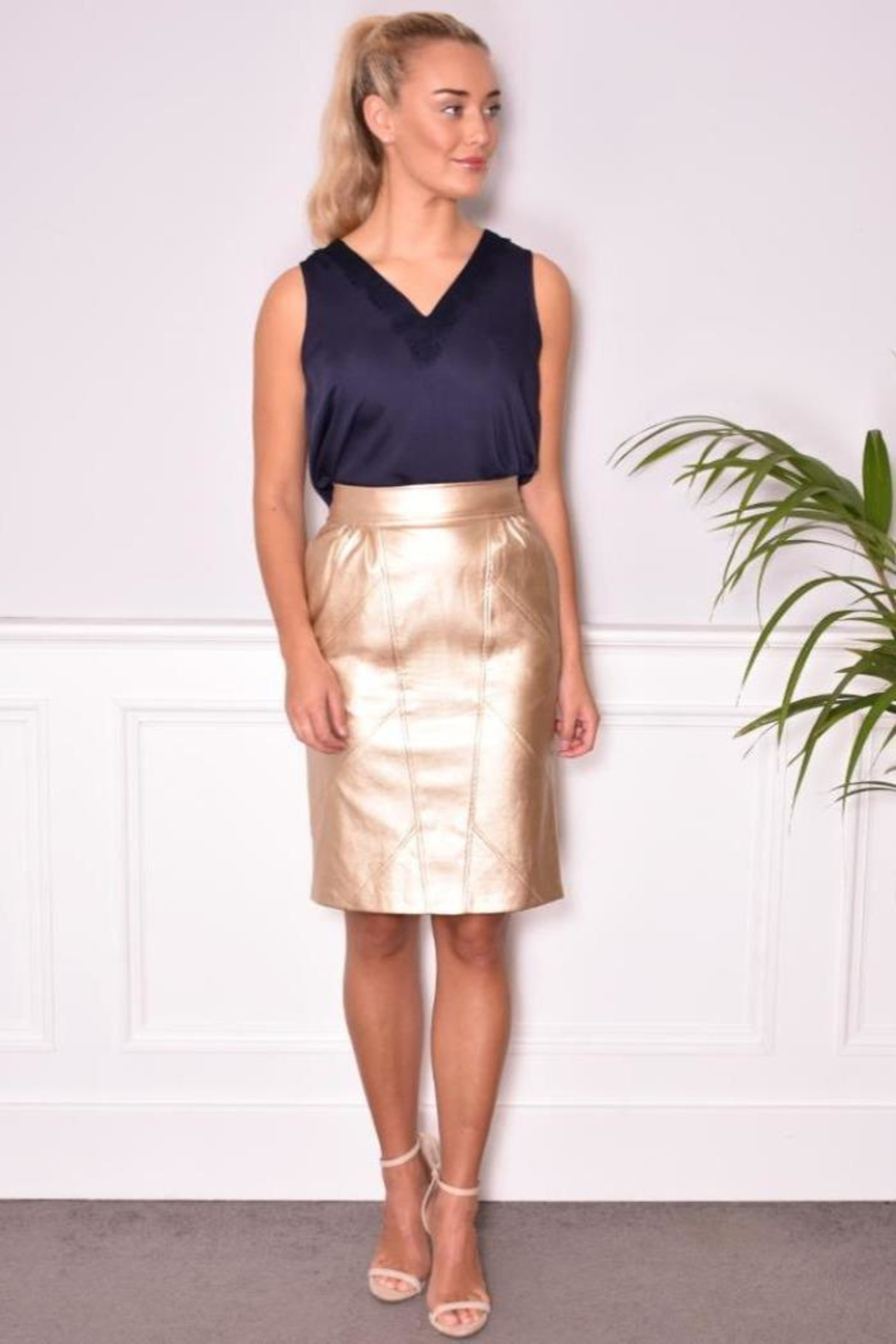 FRNCH Vegan Leather Skirt - Front Cropped Image