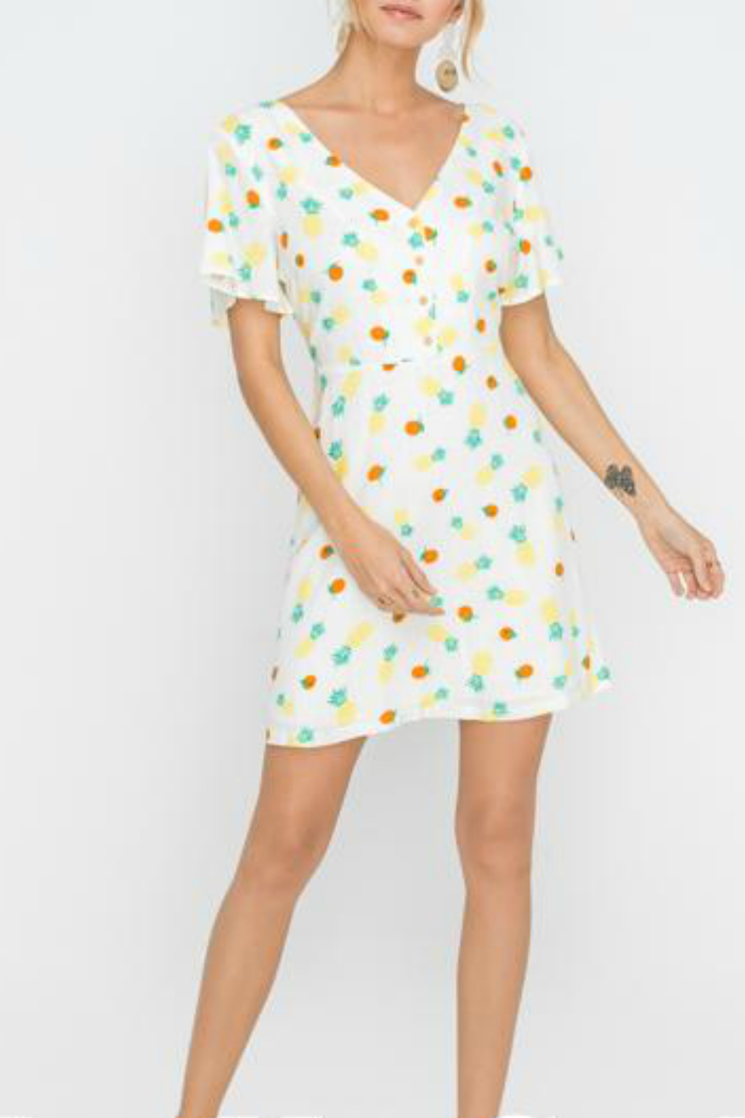 Lush  Front button down dress w/ back tie - Main Image