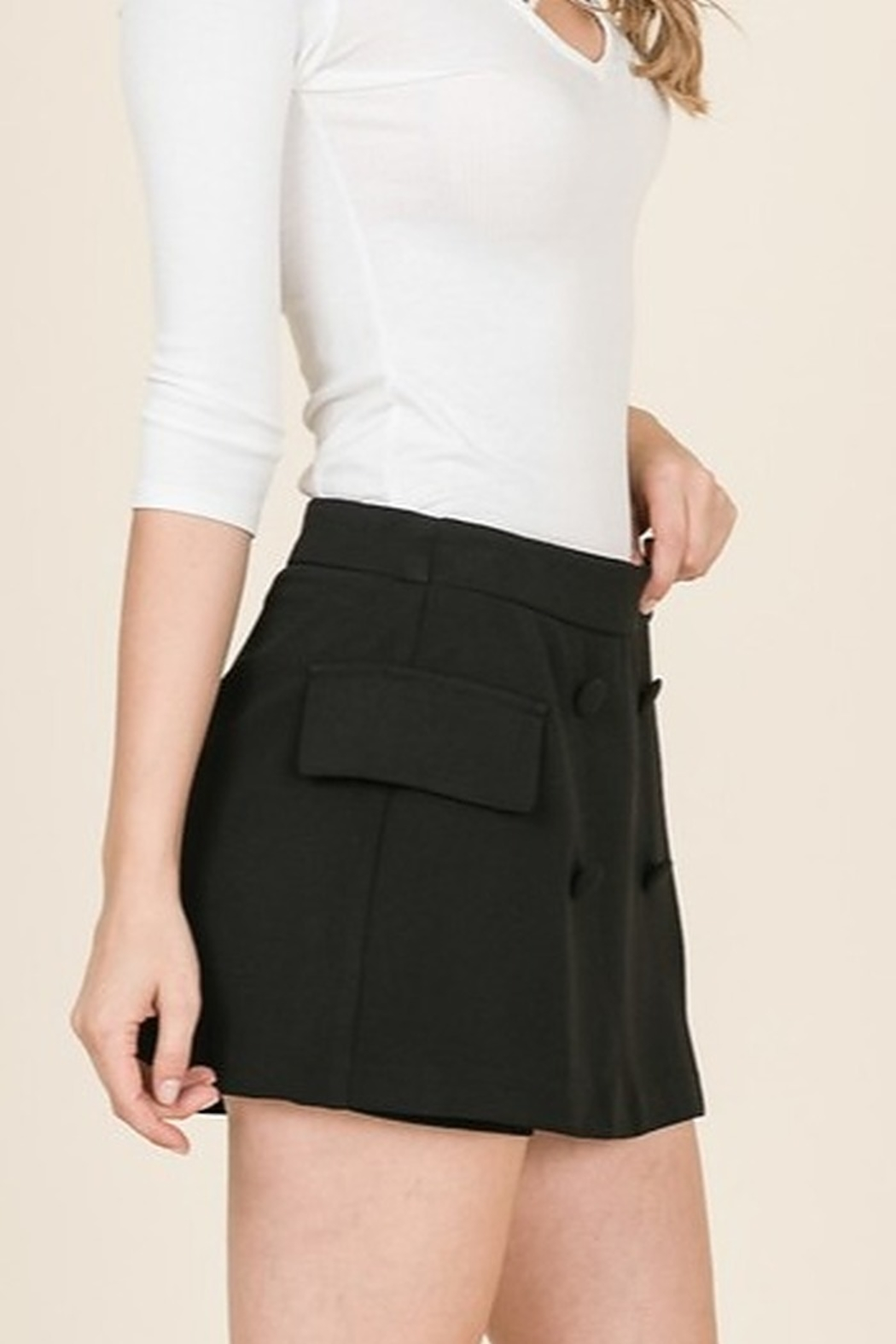 Lumiere Front Button Skort - Side Cropped Image