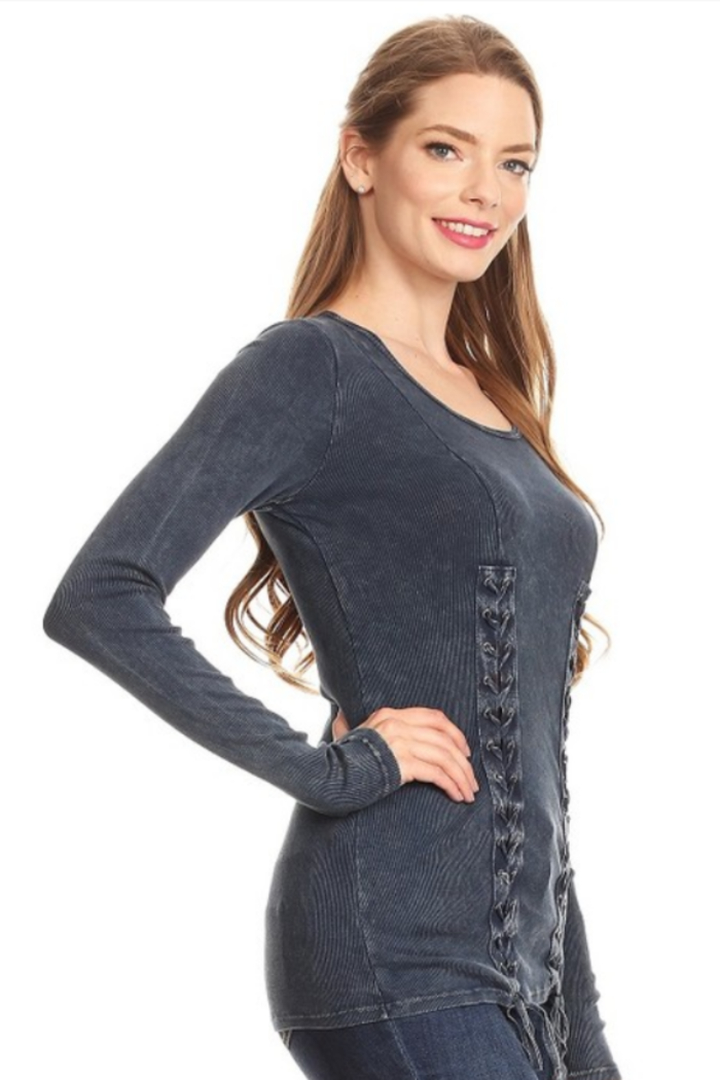 T Party Front Double Laced UP Ribbed Knit Shirt - Main Image