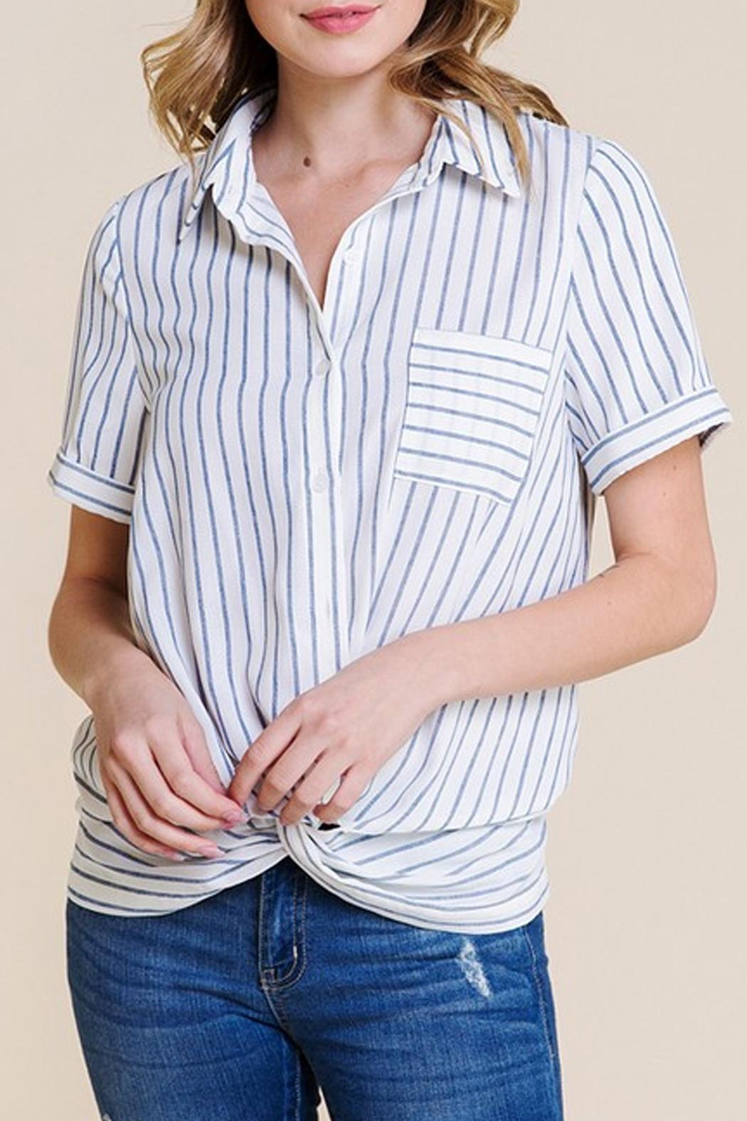 Polagram Front-Knot Button-Up Top - Front Full Image