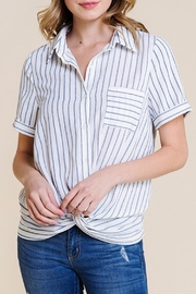 Polagram Front-Knot Button-Up Top - Front full body