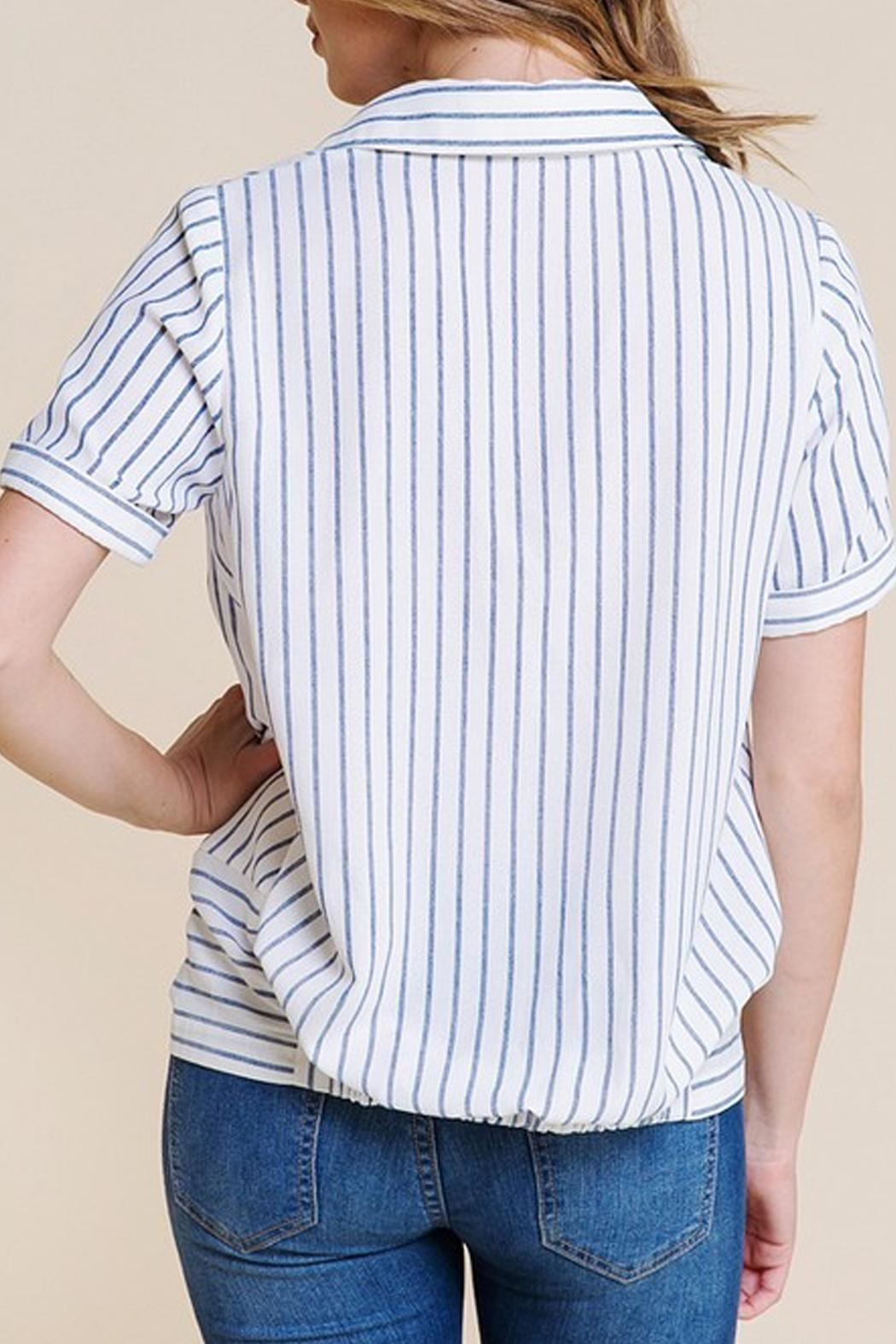Polagram Front-Knot Button-Up Top - Side Cropped Image