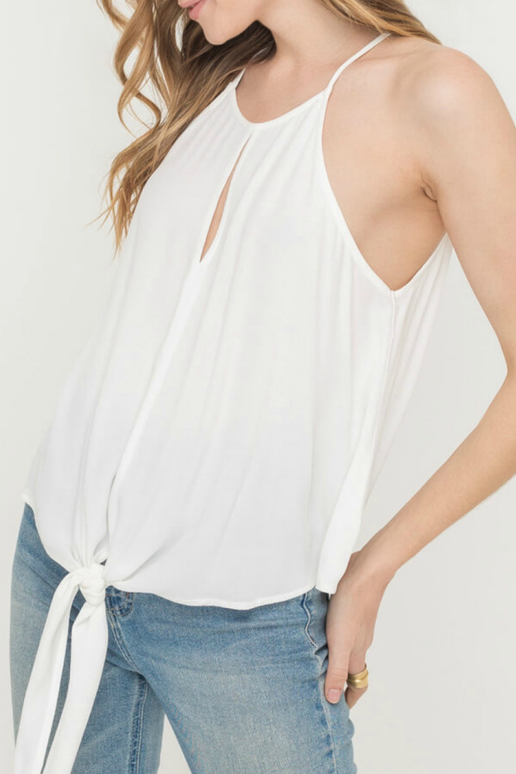 Lush  FRONT KNOT WOVEN TOP - Main Image