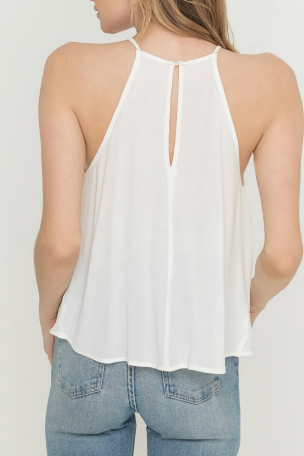 Lush  FRONT KNOT WOVEN TOP - Side Cropped Image
