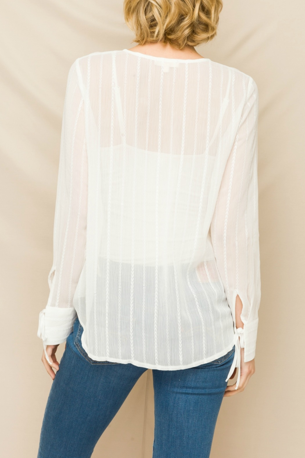 Mystree Front Lace-up Emb Chiffon Top - Front Full Image