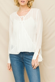 Mystree Front Lace-up Emb Chiffon Top - Product Mini Image