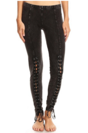 T Party Front Laced Mineral-washed Legging Pants - Front cropped