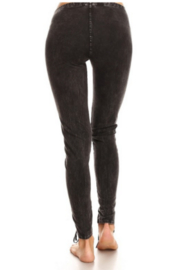 T Party Front Laced Mineral-washed Legging Pants - Front full body